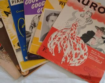 Bundle of Vintage Music sheets (7 items)
