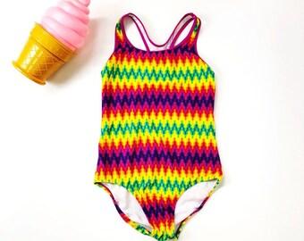 Vintage 90s Rainbow Swim/ One Piece Bathing Suit /Speedo Swimsuit / Size XS/S