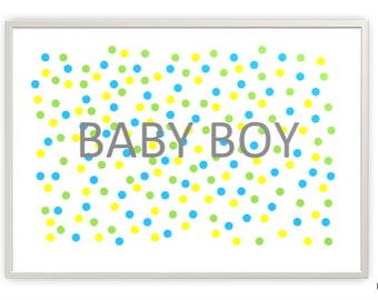 Baby Boy Cool Colours Nursery Printable, Digital Downloads, PDF & JPG Format