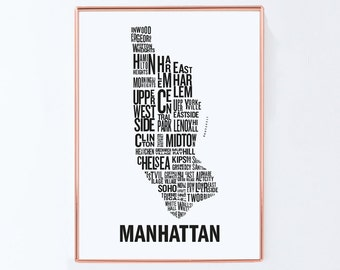 New york map, Manhattan map, Typography Map, Graphic art, USA, Art Typography Poster, New york wall art, NYC Print, NYC Art