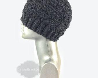 Black Crochet Hat, Chunky Winter Crochet Hat, Textured Crochet Beanie, Warm Crochet Ski Cap, Black Knit Cap