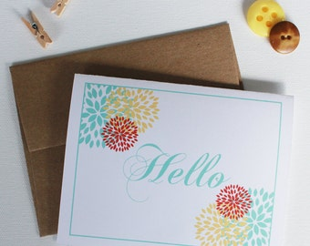 Flowers and Hello - Greeting Card - Just Say Hello - A2 Greeting Card with Kraft Envelope - Cards - Friendly Greeting Cards