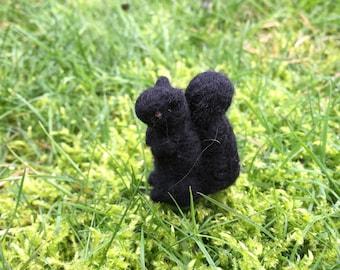 Felted Miniature Black Squirrel Tiny Figure miniature Squirrel