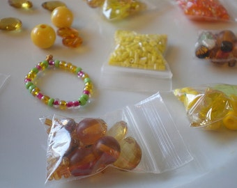 Orange Yellow Bead Mix - Destash Beads - Various Sizes - Grab Bag - Cheap Bead Lot - Jewelry Making & Stringing - Hobby - Glass Plastic