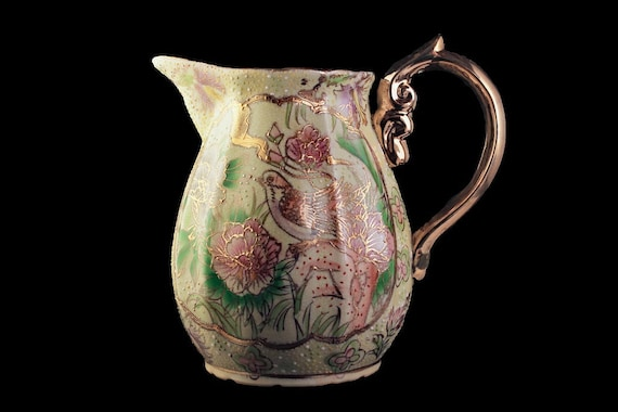 Water Pitcher, Made In China, Moriage Style, Gold Trim, Crackle Glazed, Bird and Floral, Centerpiece, Hand Painted, Vase