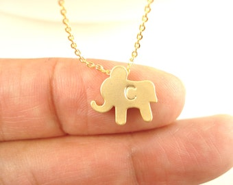 Personalized Elephant necklace....hand stamped bridal jewelry, bridesmaid gift, flower girl, wedding, everyday minimalist  pendant