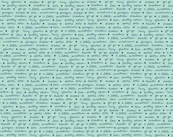 A Little Sweetness - Text Mint by Tasha Noel for Riley Blake, 1/2 Yard, C6514-Mint
