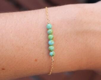 Tiny beaded bracelet, turquoise green dainty bracelet, small turquoise bracelet, delicate gold chain bracelet, custom gold bracelet, womens