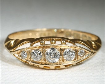 Antique 18k Edwardian Diamond Ring Hallmarked Birmingham, England 1913