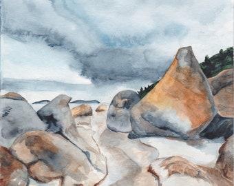 Landscape of Wilson Promontory Park, watercolor