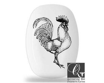 Rooster platter,melamine platters,melamine dinnerware,black and white,bird art plate,serving trays,farm animal art,rooster decor,gift #p134