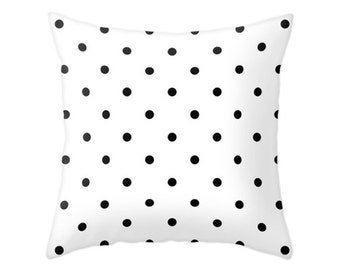 Polka Dots Pillow, 2 Black and White Color Options, Decorative Throw Pillow, Zipper Pillow Cover, Minimal Pattern Design Cushion, Home Decor