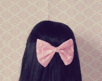 Sugar Sweet Pink Lace Hair Bow - French Barrette, Prom Hair Bow for Teen Girl, Girly Hair Bow, Pretty in Pink