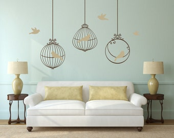 3 BIRDS CAGES 6 birds Decals Removable Wall Art 2 colors Vinyl Dinning Living Room Nursery Birdcage Sticker