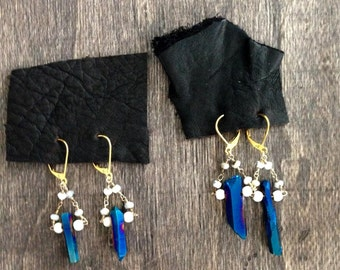 Blue metallic quartz earrings