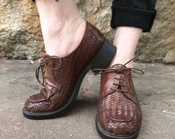 Women's BRIGHTON Woven Leather Brown Oxfords Shoes size 7 1/2 made in Italy