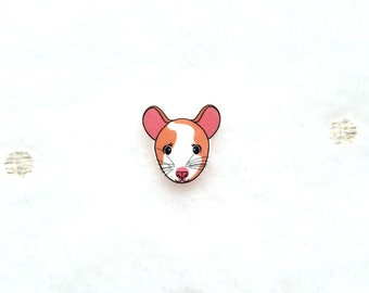 Cute Mouse, Rat, Pet, Pin, Badge, Fashion, Accessory, Tiny, Illustrated, Print, Shrink Film
