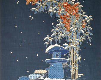 New Japanese cotton Noren quilting panel cloth - snow bunnies in garden with bamboo