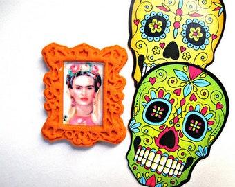 Frida Kahlo pin Frame day of the dead dia de los muertos hispanic latin mexican altered art Freida birthday  gift Popular item