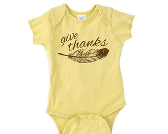 Give Thanks Onesie- Baby First Thanksgiving- Thankful Onesie- Thanksgiving Outfit- Turkey Onesie- Newborn Thanksgiving- Baby Boy- Baby Girl