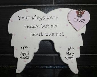 Personalised Angel Wings Memorial Plaque