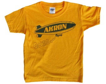 Youth Yellow Gold Tee - Akron Ohio Blimp in Blue