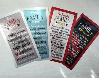 Grey/RED Disney Family Rules print 10x20
