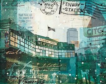 Opening Day paper print | Boston Red Sox Art | Fenway Park art | Boston mixed media art | Baseball art