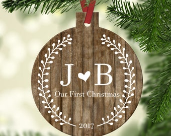 Personalized Our First Christmas as Mr and Mrs Ornament~ Floral ~ Wreath ~ Christmas Ornament ~Just Married