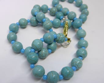 Round Aqua Bead Necklace