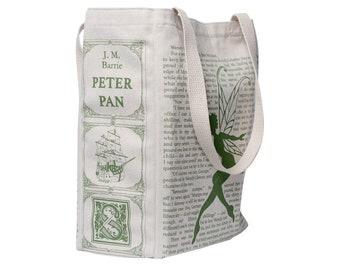 Peter Pan Book Tote - Tote Bag, Literary, Book Lover, Books, Literature, J. M. Barrie, Teacher Gift, Gift for Reader