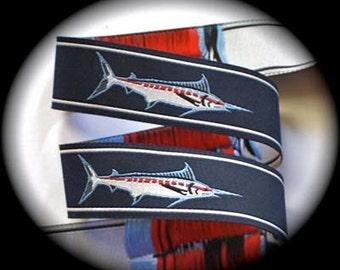"""MARLIN FISH on Navy Jacquard Ribbon - 1"""""""
