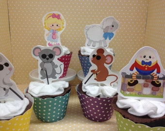Mother Goose, Blind Mice, Mary, Humpty Dumpty Party Cupcake Topper Decorations - Set of 10