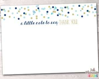 Printable Thank You Cards Instant Download Stationery PDF Blue & Gold Polka Dot Confetti