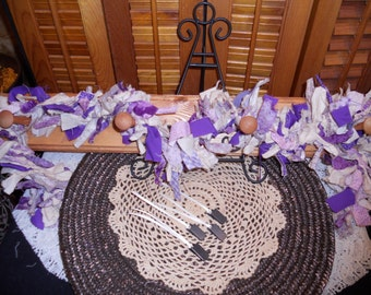 Primitive Country Raggedy Tattered Purple SUGARPLUM Christmas Valentines Day Rag GARLAND Swag Skirting Wrap Drape Ornie Clips (PRS-0028)