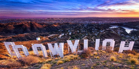 Hollywood Sign Panorama Photography Print Sunset over Los