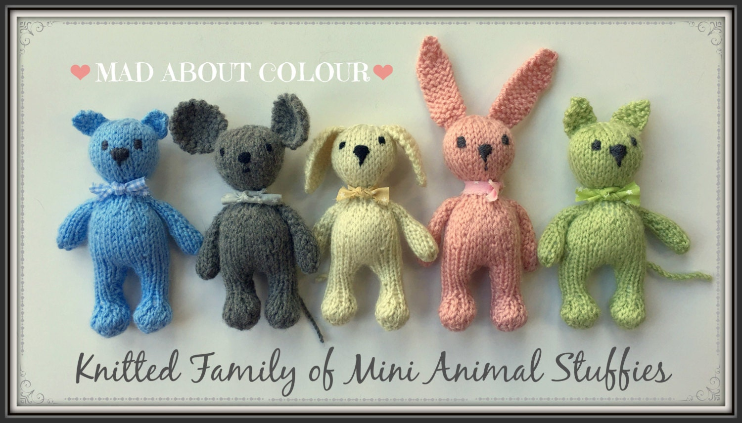 Mini Animal Stuffies KNiTTING PaTTERN Small Teddy Bear Bunny