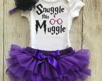 Snuggle This Muggle - Harry Potter Baby Girl Coming Home Outfit in Purple and Black - Baby Girl Harry Potter Outfit - Harry Potter Muggle