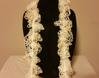 Pearl White and Gold Crocheted Lace Scarf