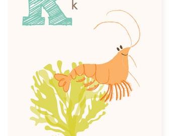 ABC card, K is for Krill, ABC wall art, alphabet flash cards, nursery wall decor for kids