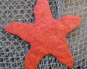 Ocean Art Starfish Metal Wall Sculpture - Recycled Metal Ocean Theme Marine Beach House Coastal Decor  Red Orange  11x11