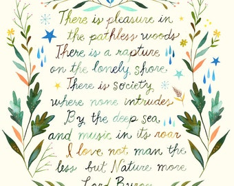 Pathless Woods Art Print    Watercolor Quote   Inspirational Print   Lettering   Outdoorsy   Katie Daisy   Wall art   8x10  