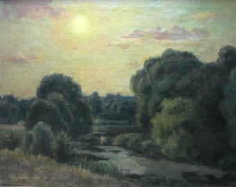 Oil canvas Old river-bad