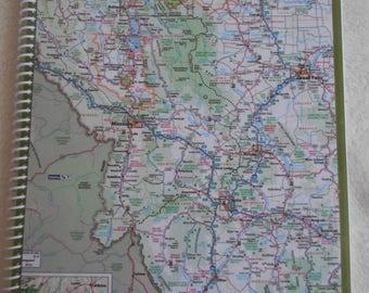 HANDMADE MONTANA MAP  notebook - recycled road atlas  journal/notebook/travel journal/sketchbook/diary/list holder/smash book/planner