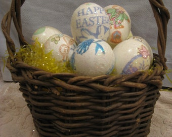 Rustic Easter Basket with Decorated Eggs