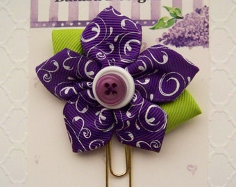 Shocking Purple Swirl Ribbon Flower Planner Clip, Bookmark, Planner Accessory, Paper Clip