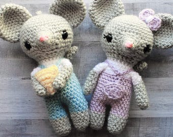 Crochet Mouse Pattern, Crochet Oliver and Oliver Mouse Pattern, Crochet Pattern, Amigurumi Pattern, Mouse Pattern