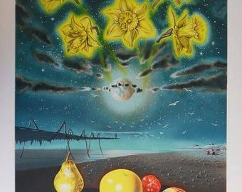 Xavier Degans - surreal landscape - original lithograph - EA