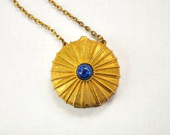 1970s Estee Lauder Empire Youth Dew Necklace Solid Perfume Vintage Costume Jewelry Necklace Pendant Perfume Holder
