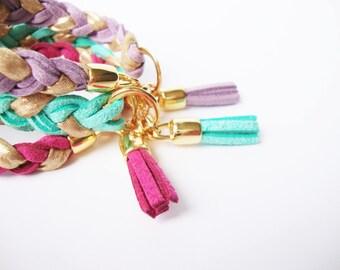 Bohemian braided bracelet tassel suede deerskin and lycra tarnished - summer jewelry